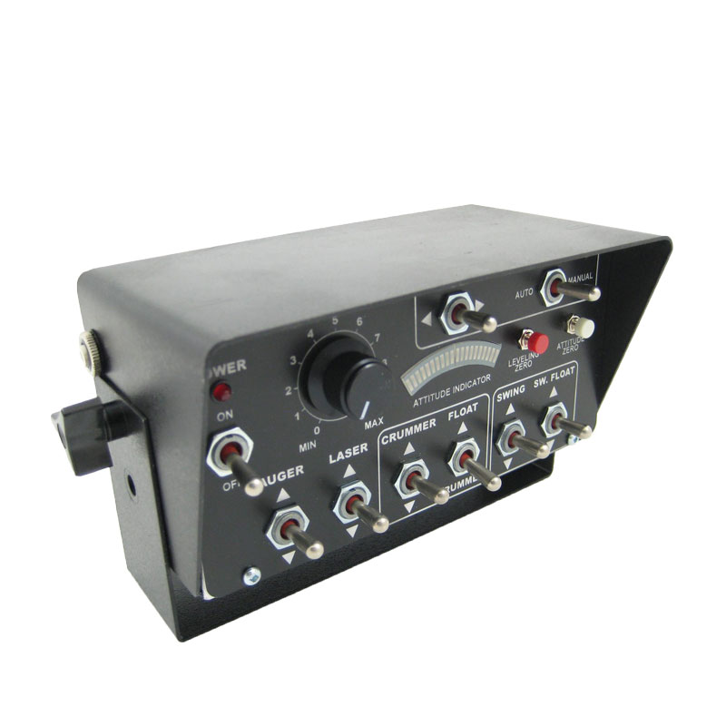dash mounted control box with multiple controls including toggle switches, push buttons, LED status indicators and a potentiometer.