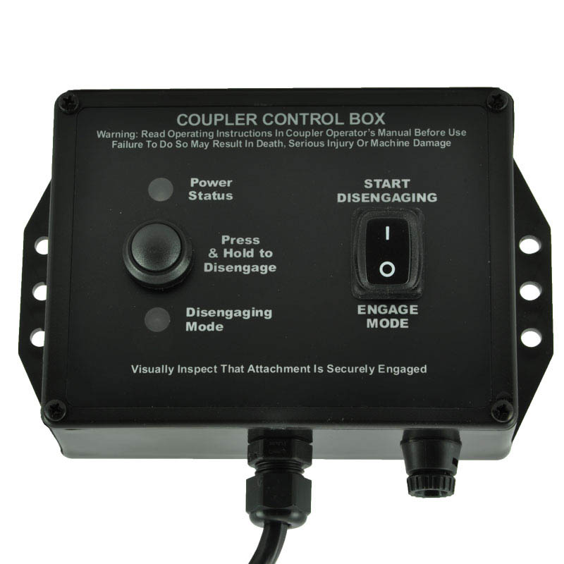 Coupler control box with rocker switch and LED status indicators.