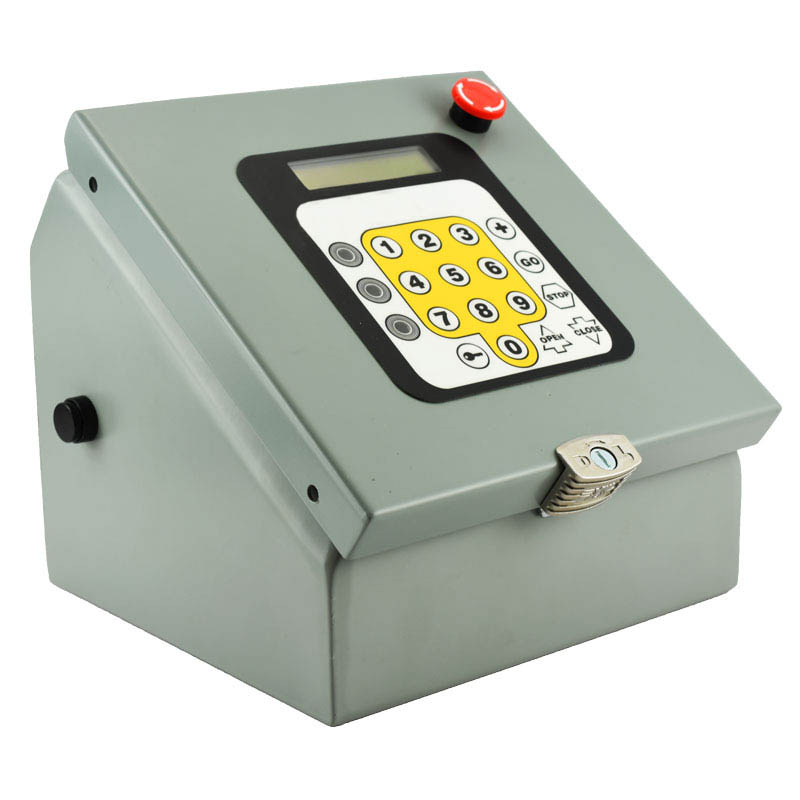 Tabletop operator's console with LCD screen, membrane keypad and an emergency stop button.